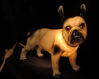 Art deco bulldog night light, antique adorable bull, ca 1930; porcelain veilleuse, TV lamp, dog glass eyes, fragrance perfume burner