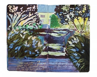 "Fine Art Print of Swedish Landscape Painting from Artist Travel Journal – ""Christina's Garden in Stockholm"""
