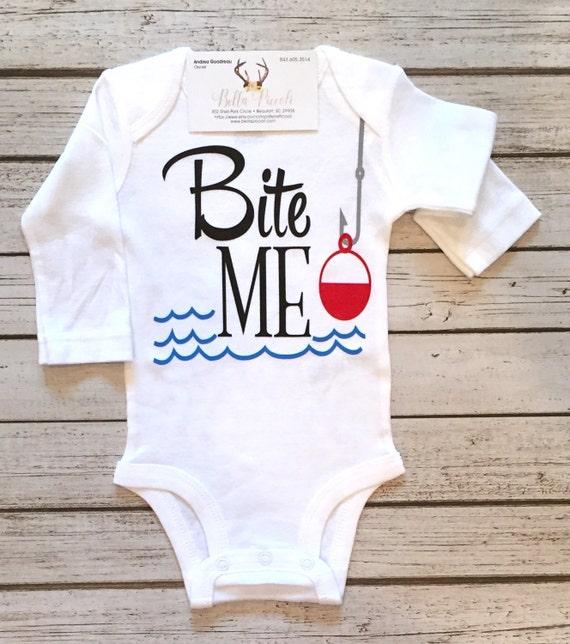 Baby boy clothes fish bodysuit bite me fishing shirt for boys for Baby fishing shirts