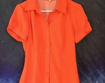 NOTATIONS Orange Polka dot Button up Blouse Size S