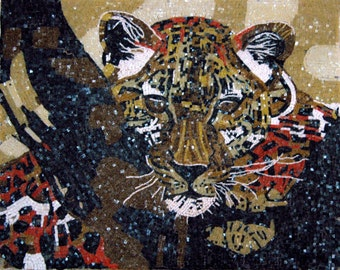 Figurative Glass Mosaic Tiger