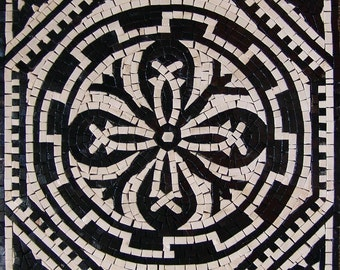 Geometric Flower Mosaic - Jupiter Black