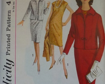 """Vintage Sewing Pattern. Simplicity 5631. Jacket and dress pattern. Bust 36"""" 1964"""