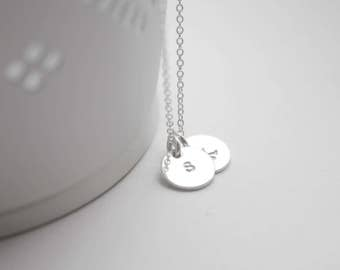 Sterling silver, monogram necklace, tiny discs, personalised jewellery, monogram, mother gift, wedding jewellry, gift, bridesmaid