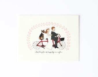 Pretty Wedding Card, Tandem Bike Card, Happy Wedding Card, Happily Ever After Card, Dog Wedding Card