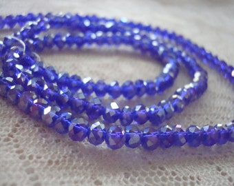 "3x4mm Cobalt Blue Rondelles w/AB Finish. Full 149pc 18"" Strand. Translucent, Deep, Dark Blue Faceted Mini Rondelles with Bling! ~USPS RATES"