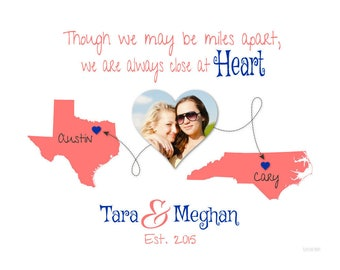 Personalized Gift for Best Friend, Long Distance Gift, Friendship Quote, Birthday Present Idea, Moving Away Gift, Two-Place Map Print