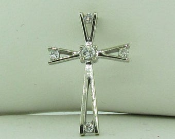 Vintage 10K white gold small diamond cross.
