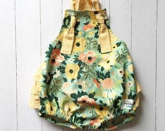 Mint Green Baby Romper , Mint Baby Romper , Yellow Baby Romper , Mint Floral Romper , Floral Romper , Summer Romper , Birthday Romper