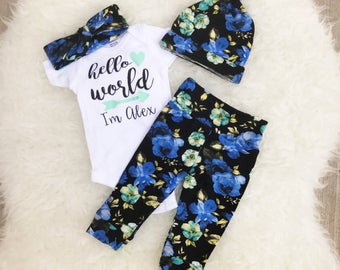 Blue Floral Hello World Set