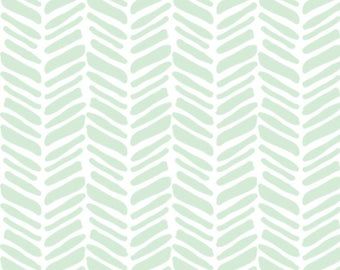 Mint Painted Herringbone - Organic Swaddle, Boppy Cover, Crib Sheet, Changing Pad Cover, Minky Sherpa Blanket, Lovey