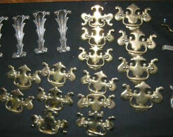 37 Piece LOT of Vintage Drawer Pulls and Hardware: most Brass and Silverplate Finish