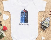 The Dr Whovian Who Hello Sweetie baby bodysuit  Onepiece tshirt  Kitty Tee