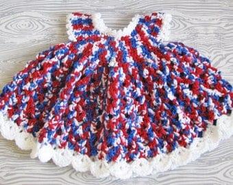 Crochet Childs Dress, Infant 3 months, 4th of July Dress, Infant Dress, Baby Shower Gift, Girl Birthday Gift, Patriotic