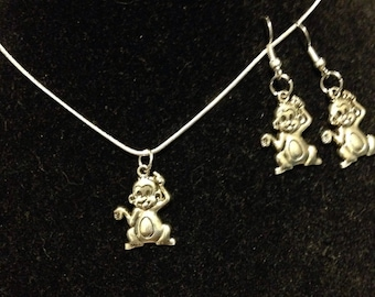 Proudest monkey necklace and earrings set.