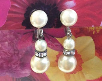 Dangling faux pearl drop earrings screw back silver tone wedding