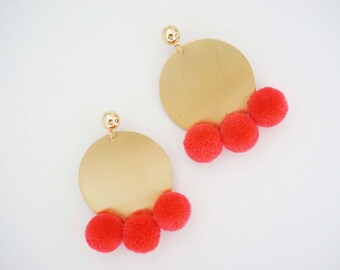 Pink Pom Pom and Gold Circle Statement Earrings