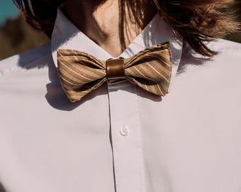 Beige Bow Tie, Brown Bowtie, Striped Bowties, Retro Bow Tie, Mens Bow Ties, Men Gift, Wedding Bowties, Groom Bow Tie, Groomsmen Bowties