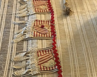 FARMHOUSE Garland, Heart-Themed with Ticking Fabric