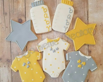 12 Gender Neutral Baby Shower Sugar Cookies - Twinkle Little Star Baby Shower Cookies - Baby Shower Favors - Gender Neutral Baby Favors