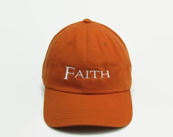 Faith Hat, Dad Hat, Baseball Hat, Tumblr Hats, Embroidered Hat, Baseball Cap, Low Profile Hat, Dad Cap, Custom Hat, Orange Hat, Dad Hats