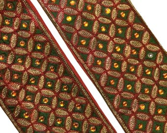 "3.1"" Wide Silk Antique Vintage Sari Border Woven Indian 1 Yard Trim Craft Ribbon Lace ST1369"