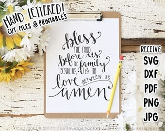 Bless the Food Before Us, Bible Verse SVG, Printable Wall Art, Dinner Prayer, Dining Room Printable, Bible Verse Print, Prayer Printable