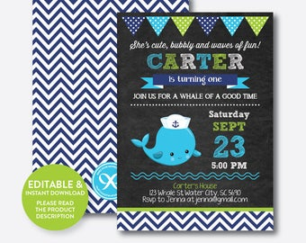 Instant Download, Editable Whale Birthday Invitation, Whale Invitation, Blue Whale Invitation, Whale Party Invitation, Chalkboard (CKB.539)