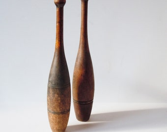 Wooden Spalding Juggling Pins / 2 Older Tall Pins with Original Patina / 1 Stripe and 2 / Found together