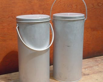 Canisters / Large Vintage Travel Aluminum Cylinders with Handles / Feather light