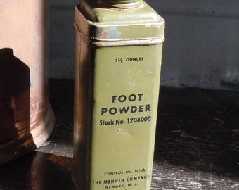 Foot Powder / Vintage Medicine Cabinet / Military Stock / Most of the powder is still inside / Control No. 101A