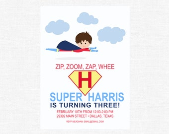 Super hero Super boy Party Batman Flying Superman red stripes Birthday Party Invitations -FREE SHIPPING or DIY printable