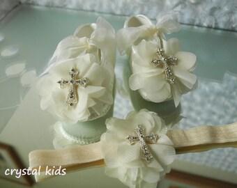 Baby Girls Reborn Ivory Satin Christening Shoes Baptism Shoes Wedding Shoes Crystal Pram Shoes Headband Set 0-3, 3-6, 6-12 Months