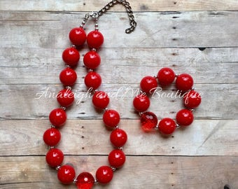 Toddler Red Necklace,  Red Chunky Necklace,  Red Necklace,  Red Baby Necklace, Simply Red, Girl's Red Necklace
