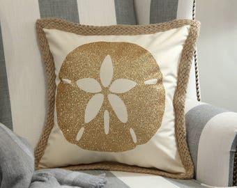 Sand Dollar Decorative Pillow Cover, Beach House Pillow Cover, Beach Theme Pillow Cover,
