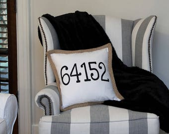 Zip Code Pillow, Glitter Numbers, Zip Code Pillow Cover, Personalized Zip Code Pillow for new Home.  Perfect gift for new home owner.
