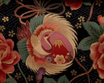 Last Piece.Crane.Rose.Chrysanthemums.Cherry blossoms.Kamon Sayagata.Japanese fabric.Japanese cotton fabric.Fabric by half yard or half meter