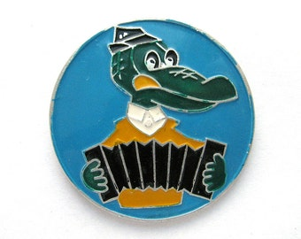Crocodile Gena with accordion, Soviet cartoon character, Pin, Soviet Vintage collectible badge, Made in USSR