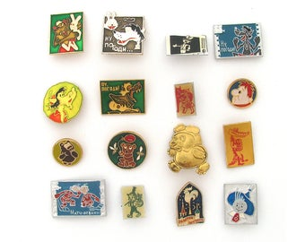 Cartoon characters, Children's badges, Pick from set, Animal, Wolf, Hare, Bear, Vintage collectible badge, Soviet Pin, Soviet Union, USSR