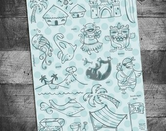 beach stamps, ocean, sealife, jellyfish stamps, dolphin stamp, palm tree, penguin stamps, pirate stamps, hula, jetski, volcano, sand castle