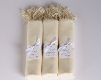 Set of 3 IVORY PASHMINA SHAWLS with favor tags - Ivory Wraps Wrapped with Ribbons and Favor Tag - Ivory Bridesmaid Shawls - Wedding Favors