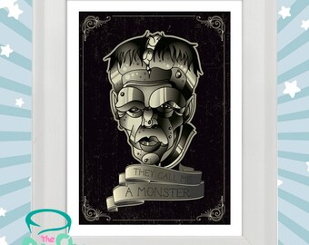 They call me a monster -Neo tradition horror style Frankenstein tattoo original print in white wooden frame