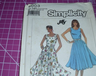Simplicity 8003 / Sizes 6-12 / Knit Dress in Two Lengths /  Jiffy Pattern / Gored Skirt Dress / Uncut FF Pattern / Excellent Condition
