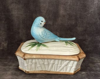 Vintage  Fitz and Floyd FF budgie bird and bamboo trinket box