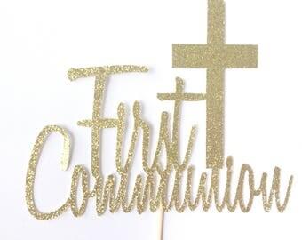 First Communion Cake Topper - First Communion - Gold Glitter Topper - Religious Cake Topper