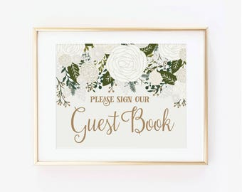 Printed Wedding Guest Book Sign, Vintage Guest Book Wedding Sign, Guest Book Wedding Sign, Guest Book Wedding, Reception Sign #CL112