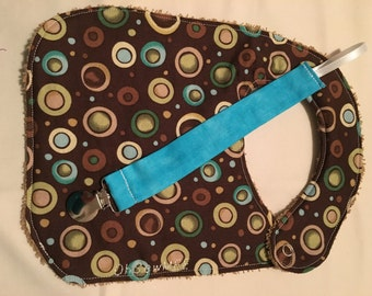 Coordinating Terry Cloth Bib and Pacifier Clip - brown with circles