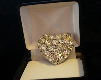 Give her your heart!  Large Rhinestone Heart Brooch Vintage Bling Bling Bling