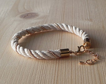 Natural Raw Jewelry Cord Bracelet Multi Thread Bracelet Bead Bracelet Cotton Fiber Bracelet Minimalist Jewelry Beach Jewelry Eco Jewelry