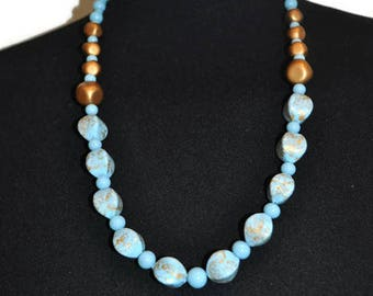 Vintage Blue and Gold Glass Necklace // Vintage Long Beaded Necklace